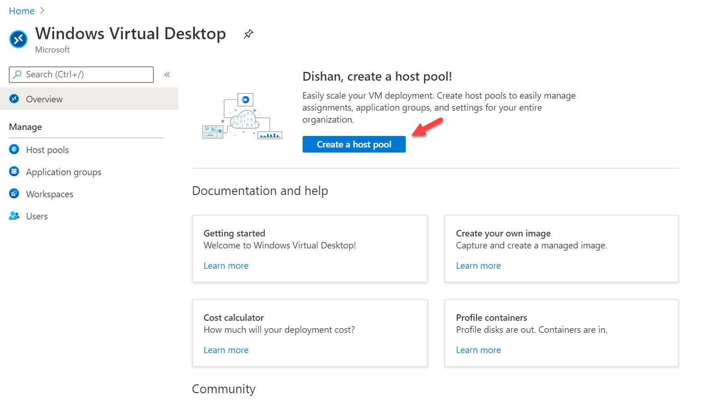 Windows Virtual Desktop host pool setup