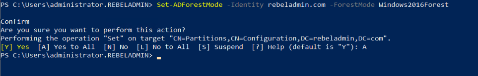 upgrade active directory forest functional level