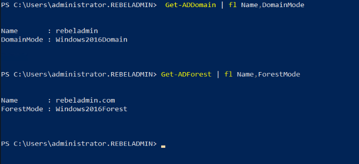 verify active directory domain and forest functional levels