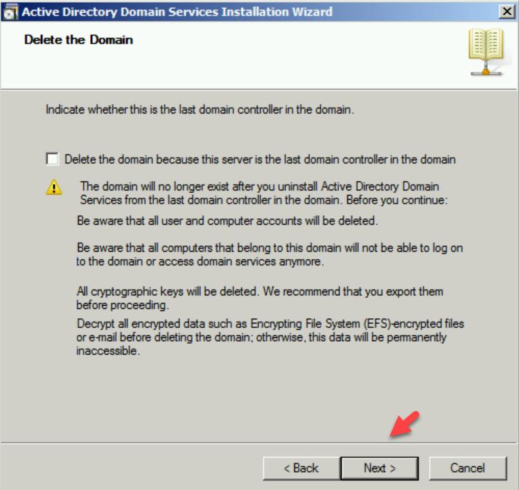 delete the domain