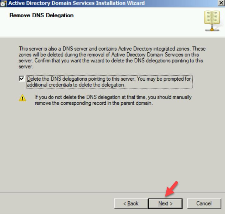 remove dns delegation