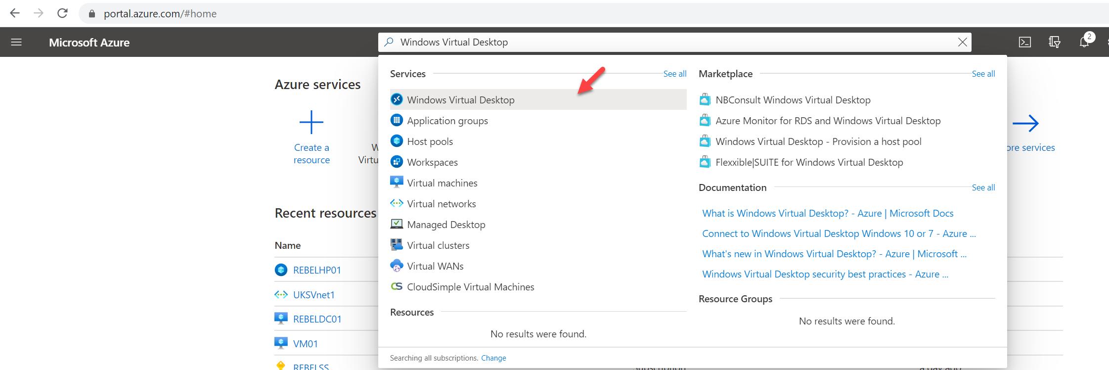 search for Windows Virtual Desktop service