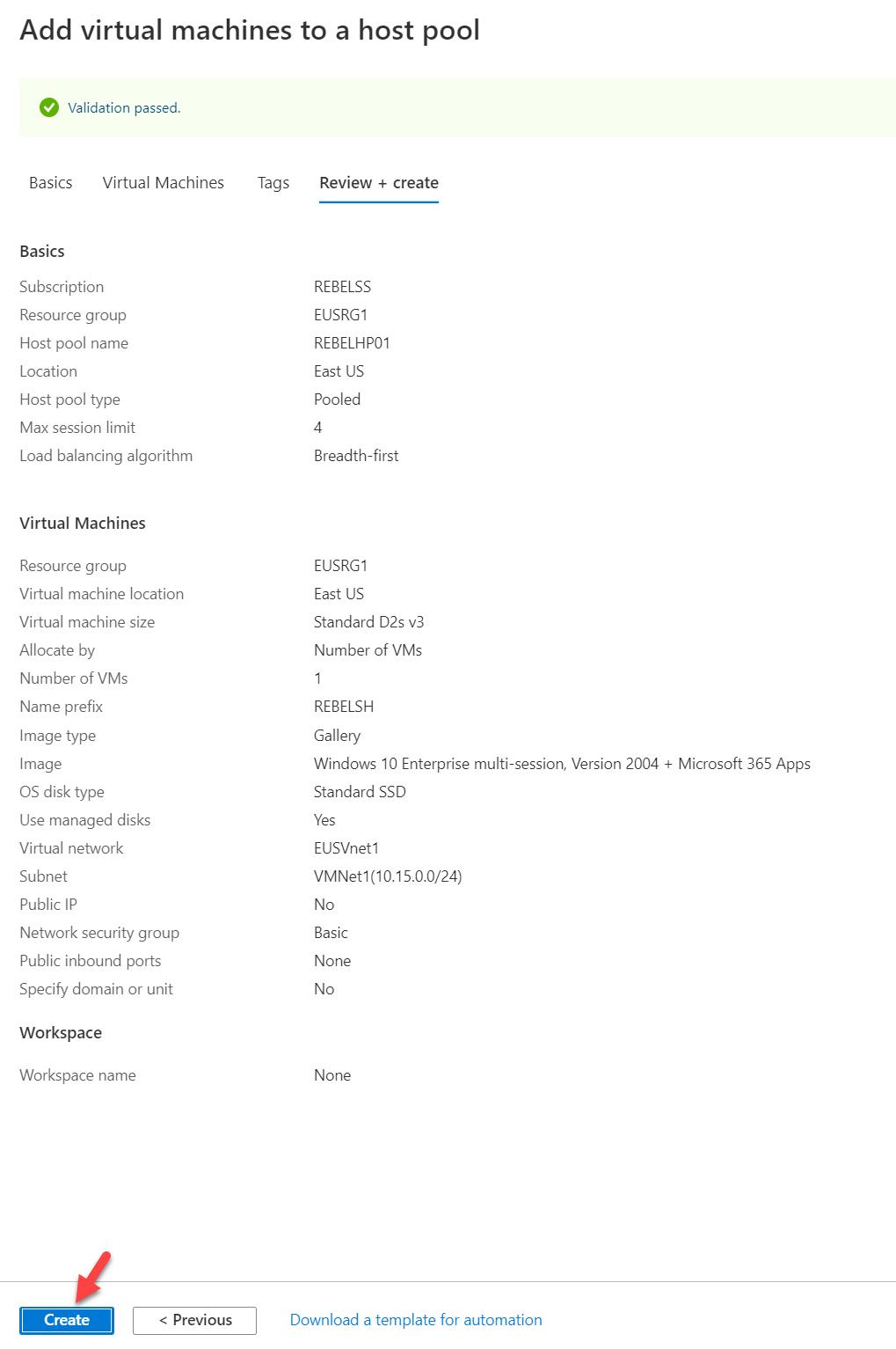 add new Windows Virtual Desktop session host configuration summary
