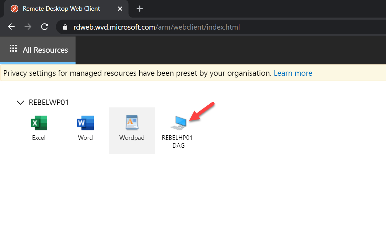 WVD web interface