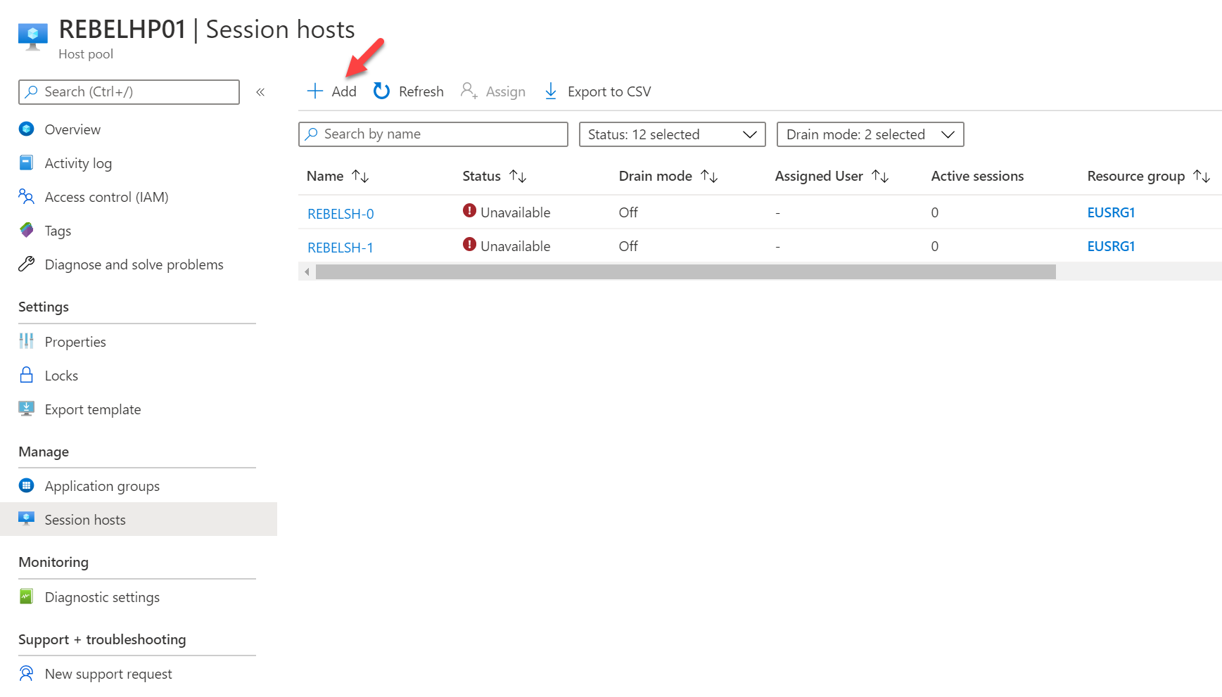 add new Windows Virtual Desktop session host option