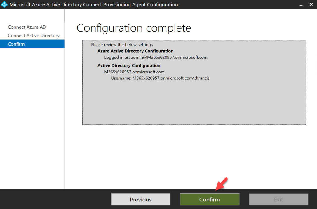 confirm Azure AD Connect cloud provisioning agent configuration