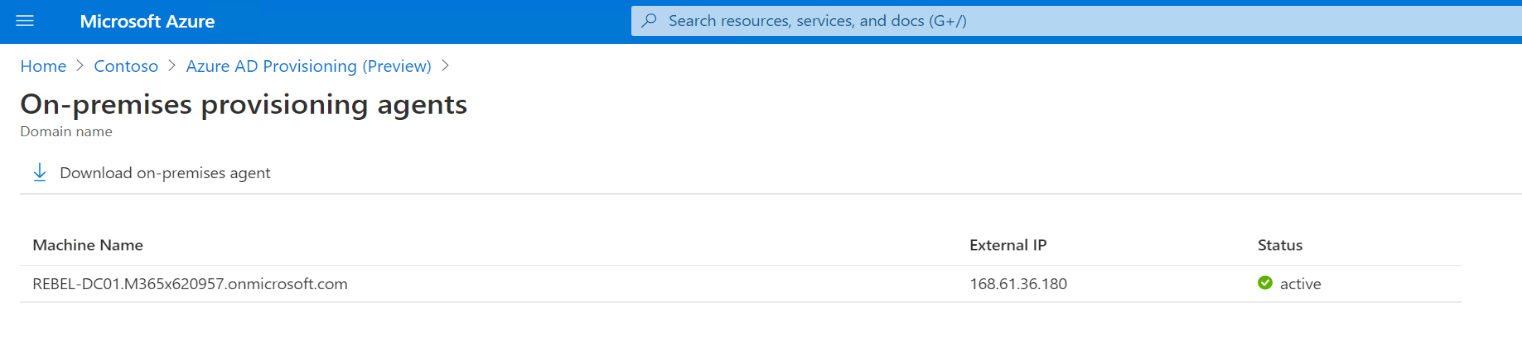 Azure AD Connect cloud provisioning agent status