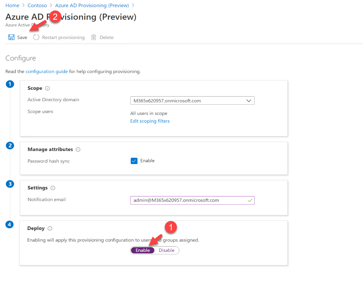 Azure AD Provisioning settings