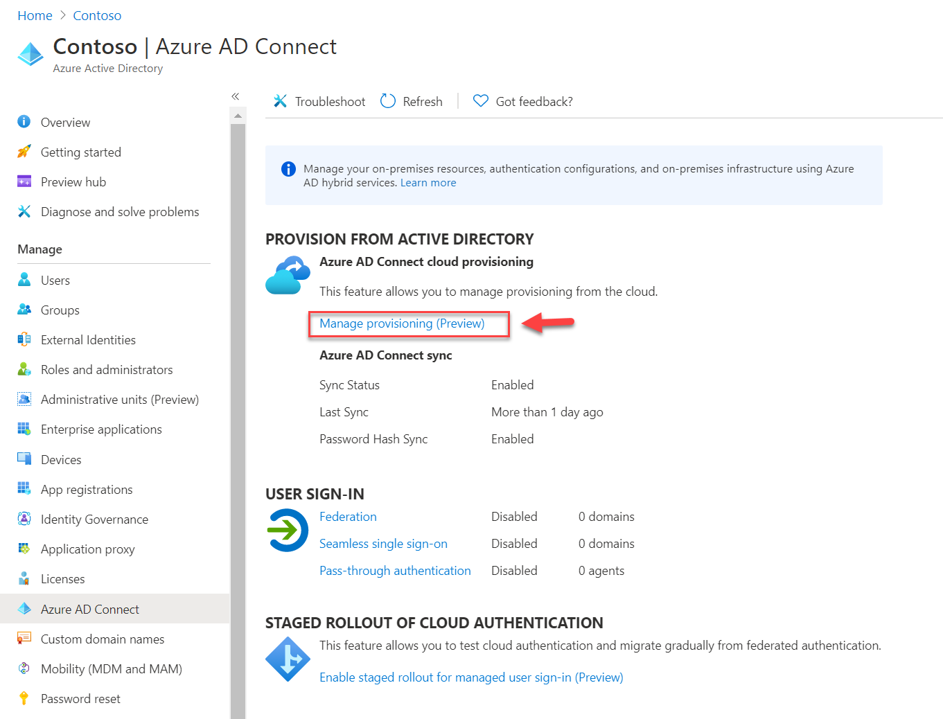 Manage provisioning (Preview) option
