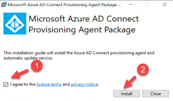Azure AD Connect cloud provisioning agent initial installation page