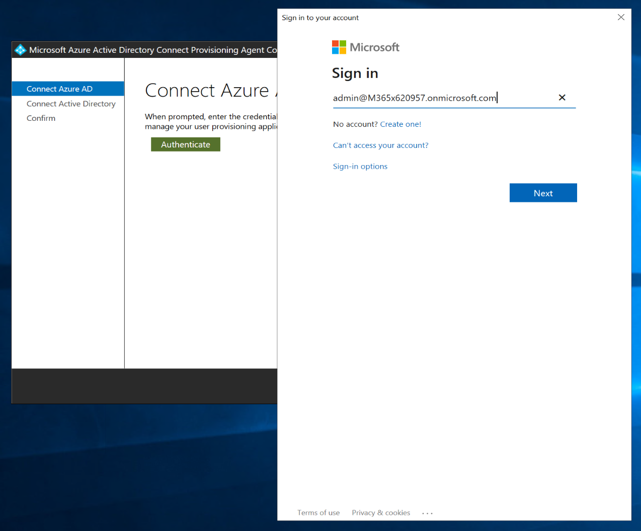 Azure AD Connect cloud provisioning agent Azure AD Authentication