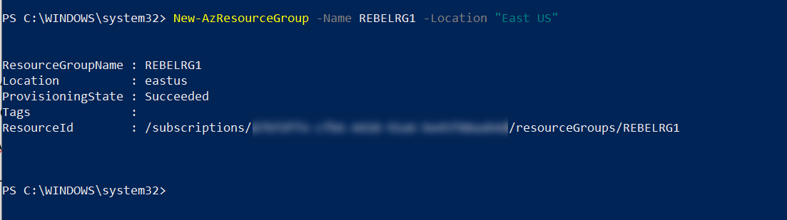 Azure resource group for Source Azure VM