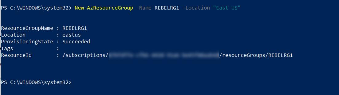 Azure resource group for Source Azure VM