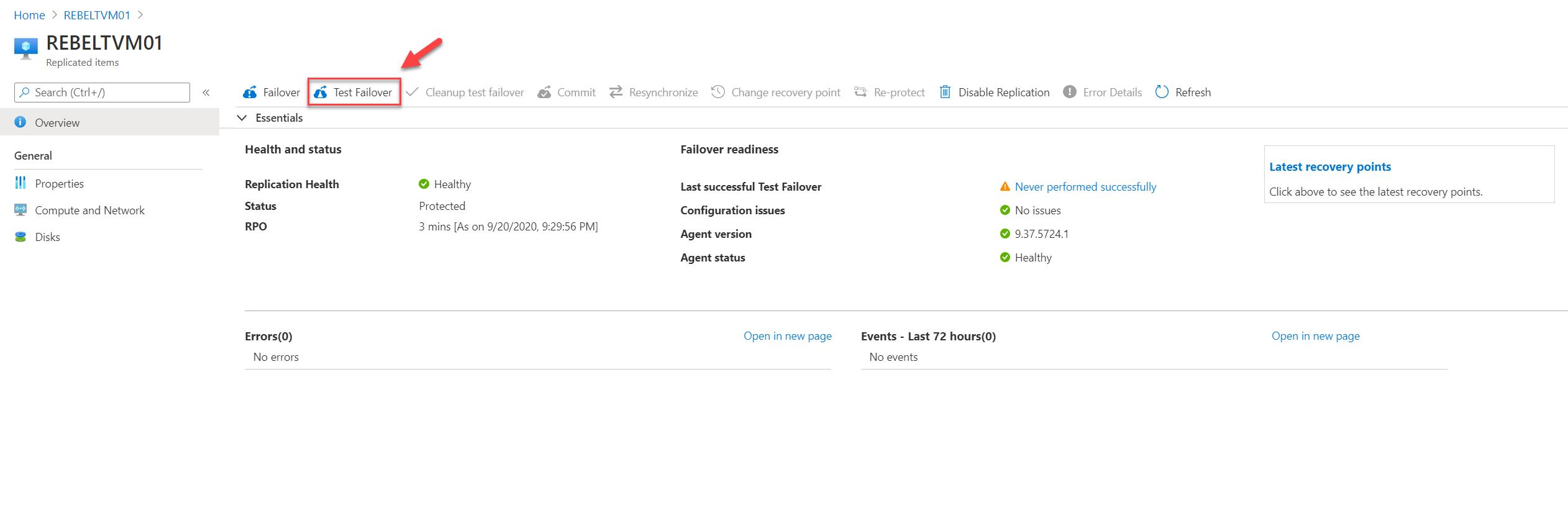 Azure VM Test Failover
