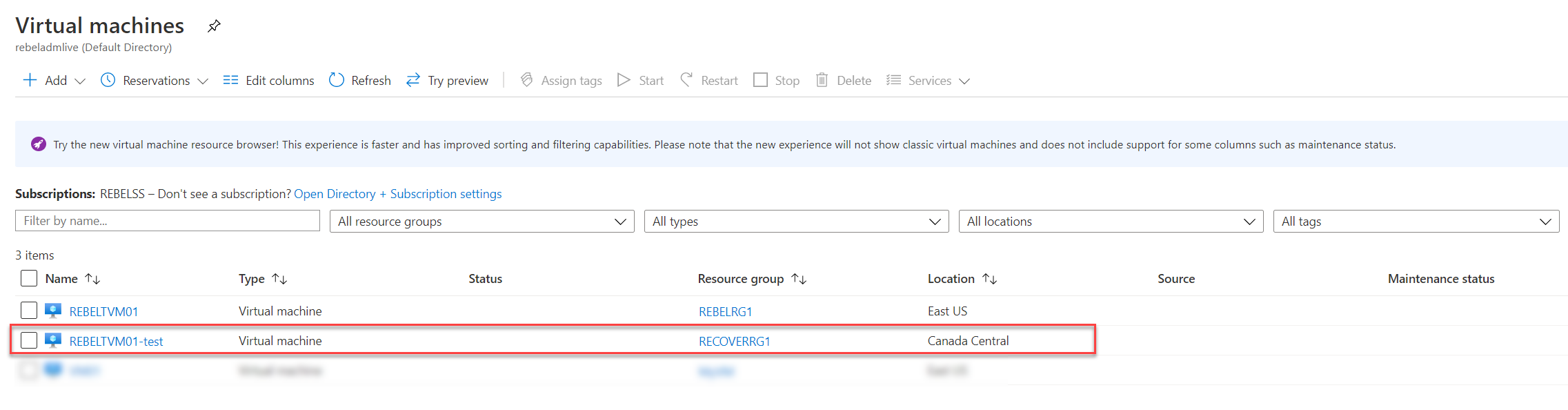 Azure Replicated VM