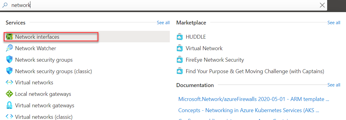 Azure network interface