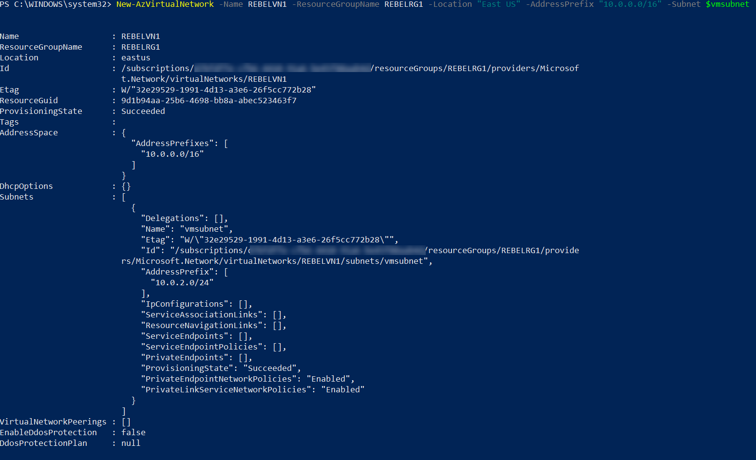 Azure virtual network for source