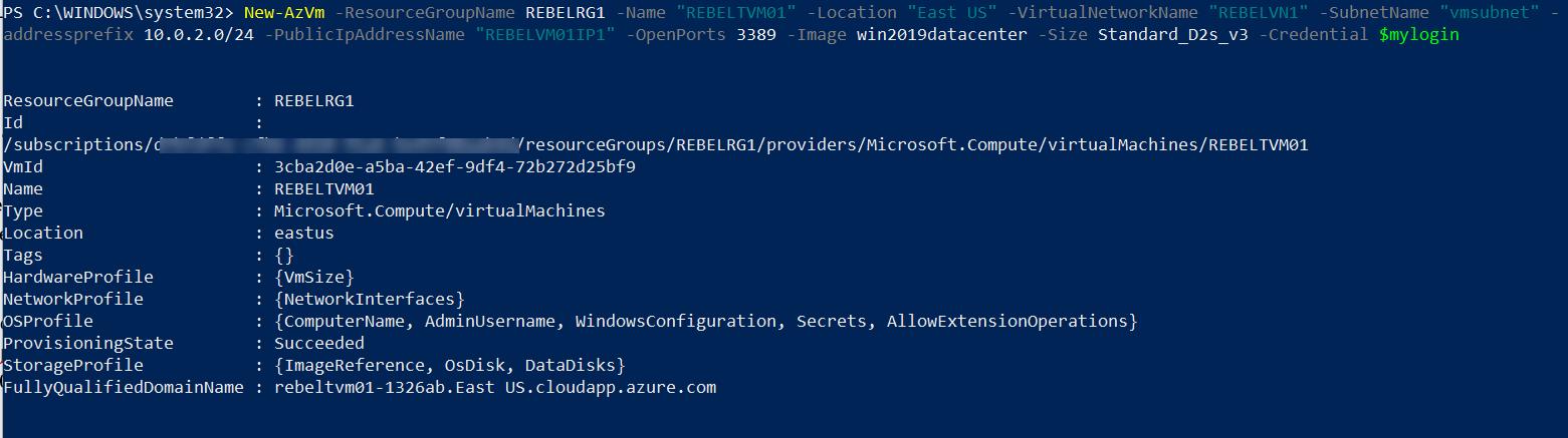 Create Azure VM