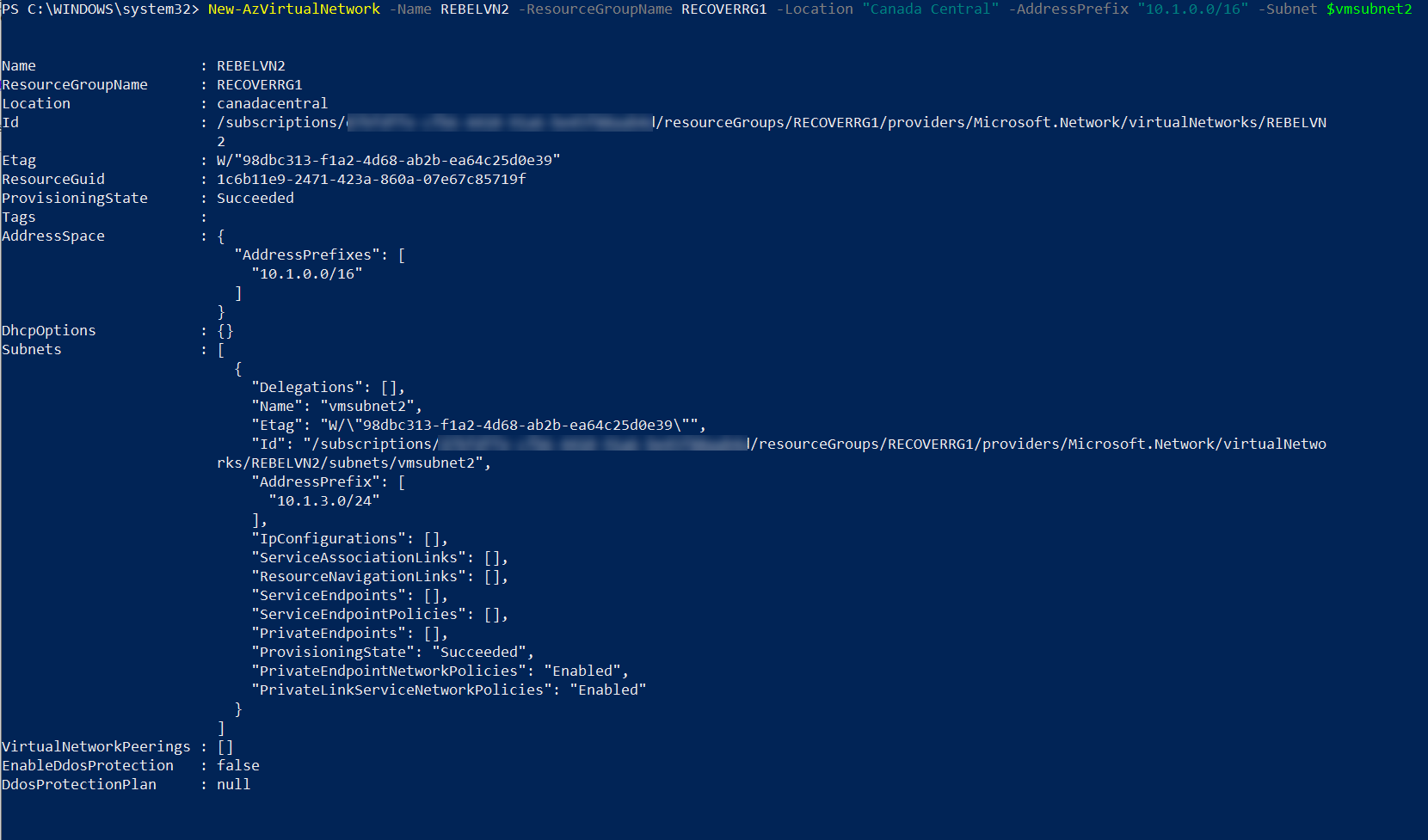 create azure virtual network for target