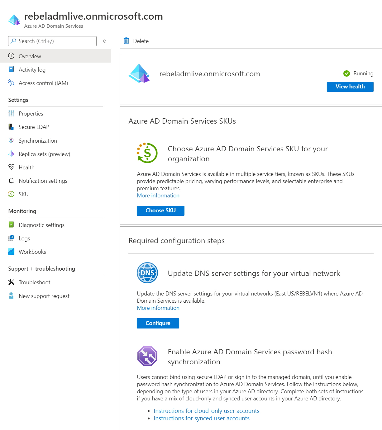 Azure Active Directory Domain Services managed domain properties