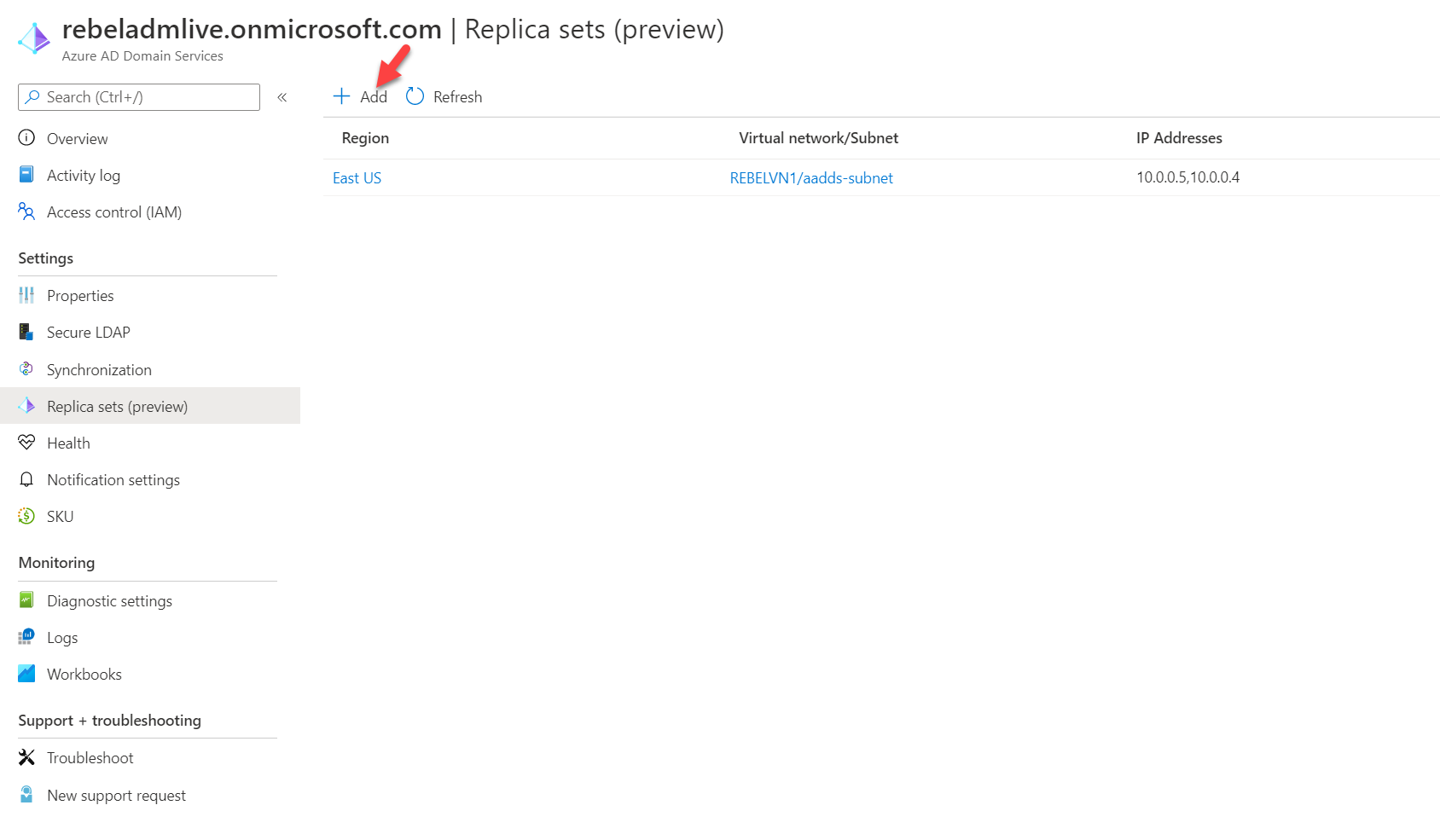 Add Azure Active Directory Domain Services managed domain replica set