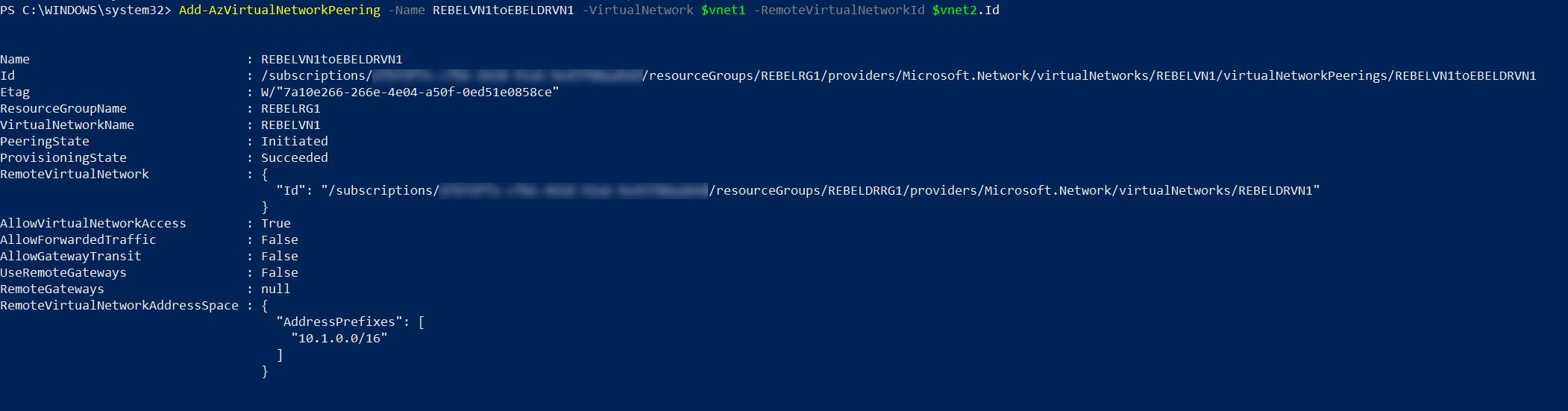 setup global vnet peering from REBELVN1 to REBELDRVN1