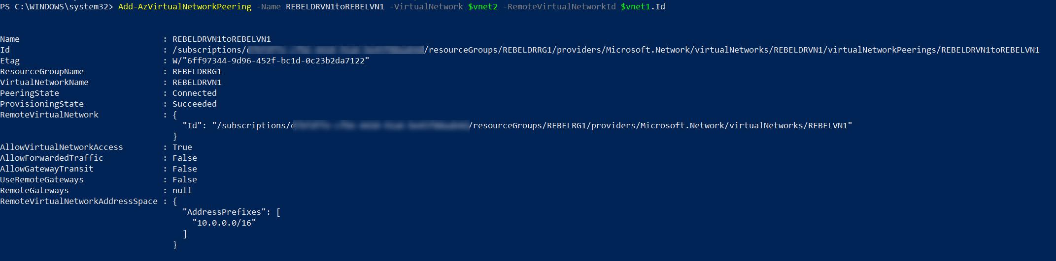 setup global vnet peering from REBELDRVN1 to REBELVN1