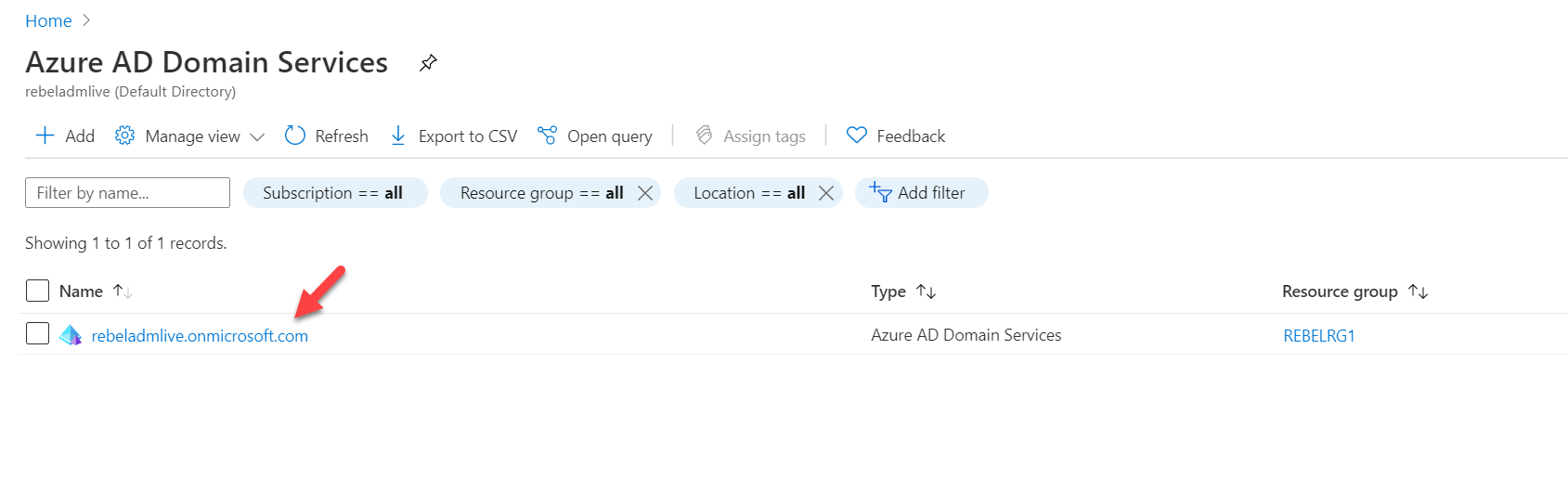 Azure Active Directory Domain Services managed domain list