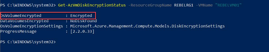 verify status of encrypted Azure VM