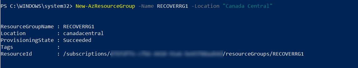 create new Azure resource group for target