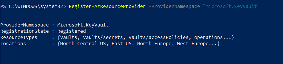 Register Azure Key Vault Service