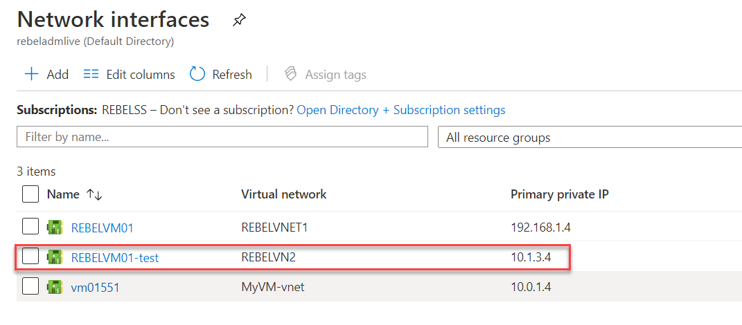 Select network interface for the failover Azure VM