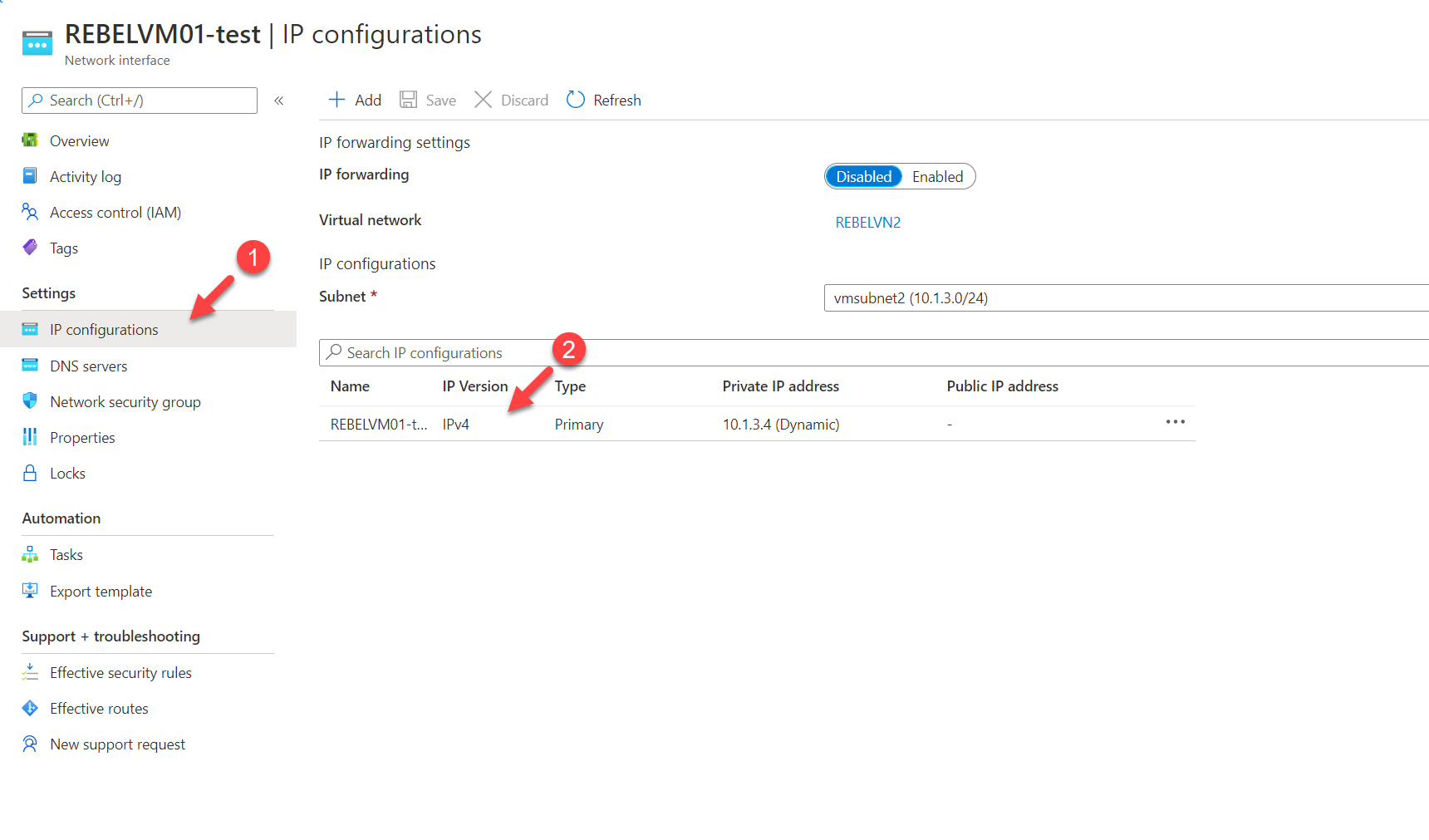 View existing Azure IP configuration