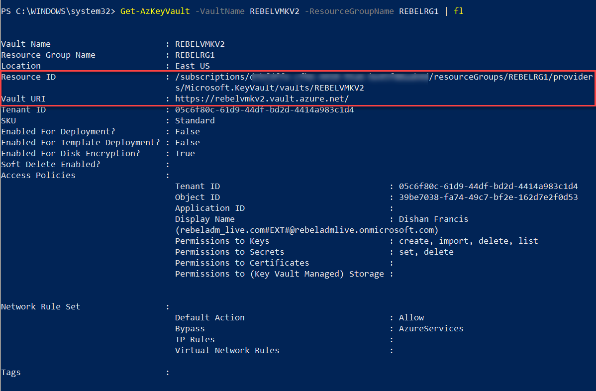 Azure Key Vault Resource ID and Azure Key Vault URI