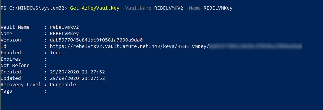 Azure Key vault key ID