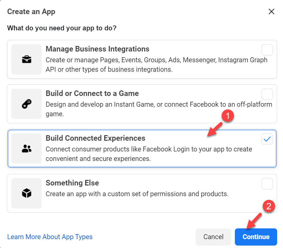 Create Facebook app ID options