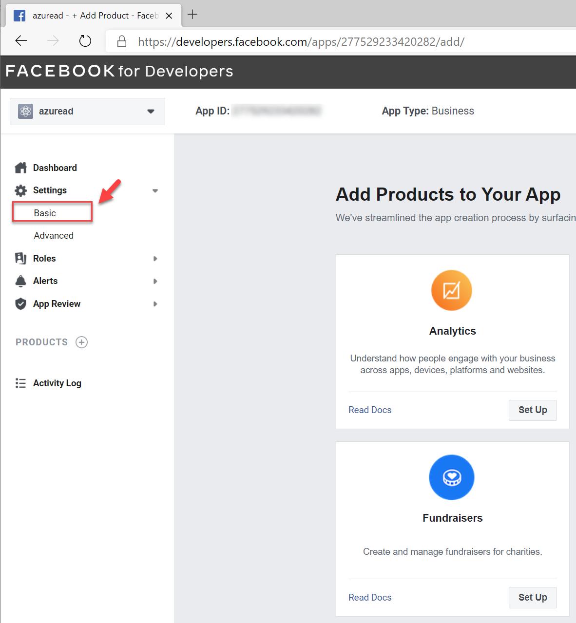 Facebook app basic settings