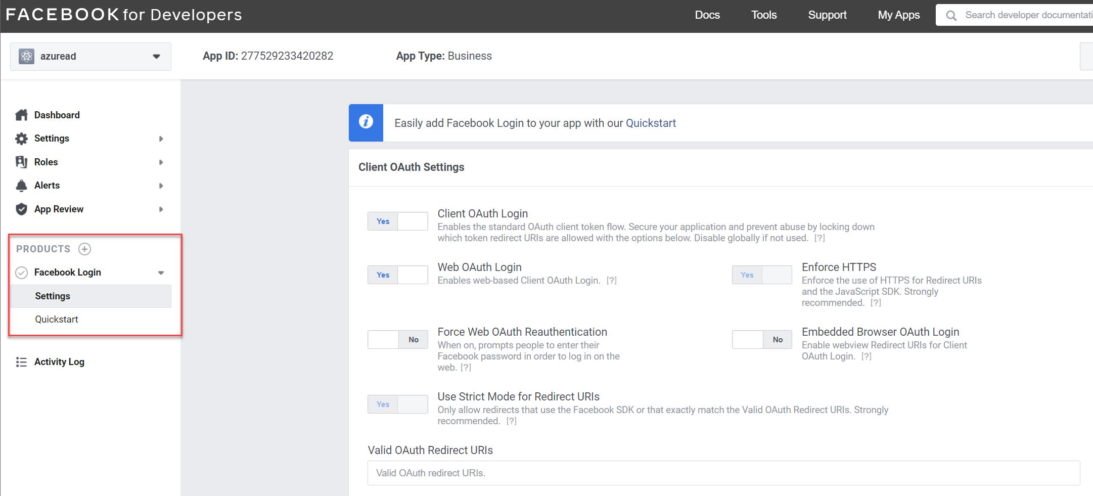Facebook login settings