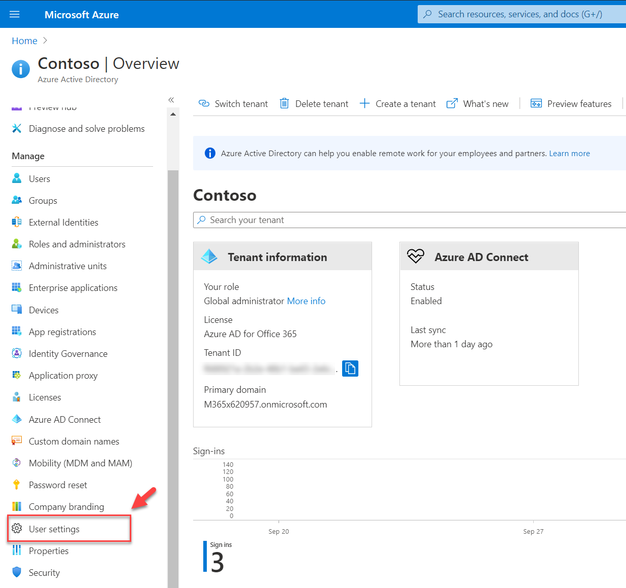 Azure AD user settings