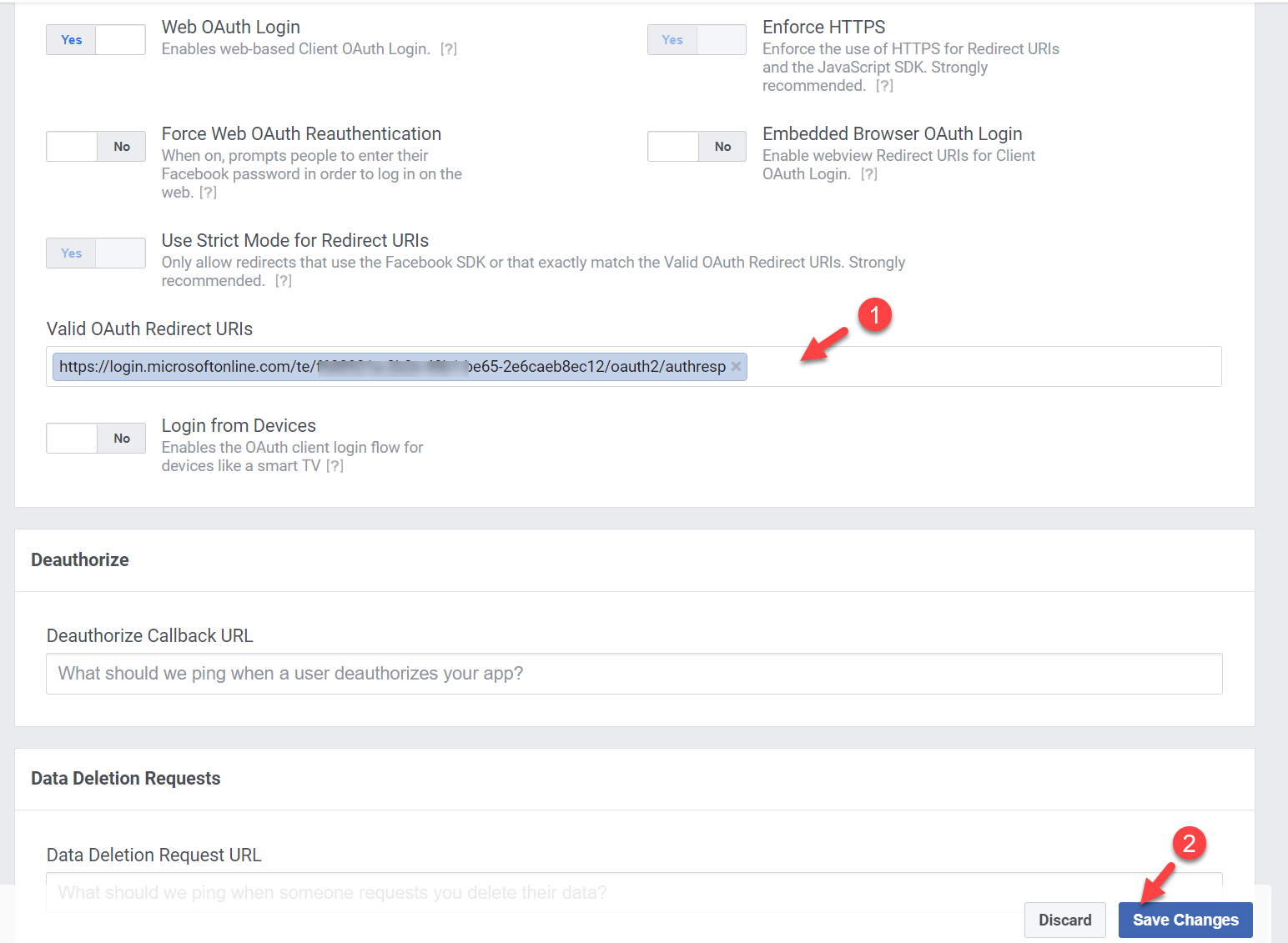 Facebook Valid OAuth Redirect URIs settings