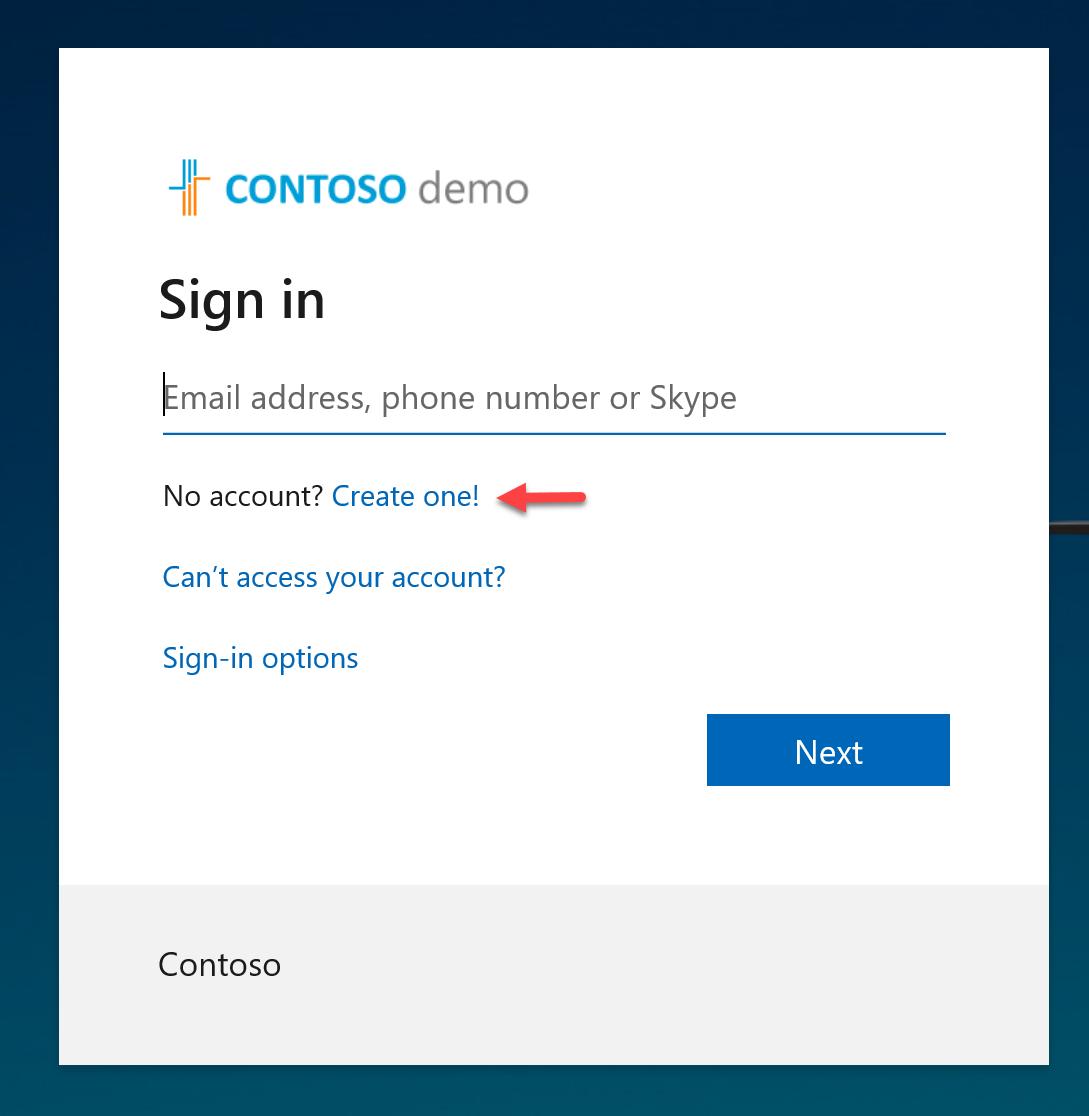 Create new Azure AD account