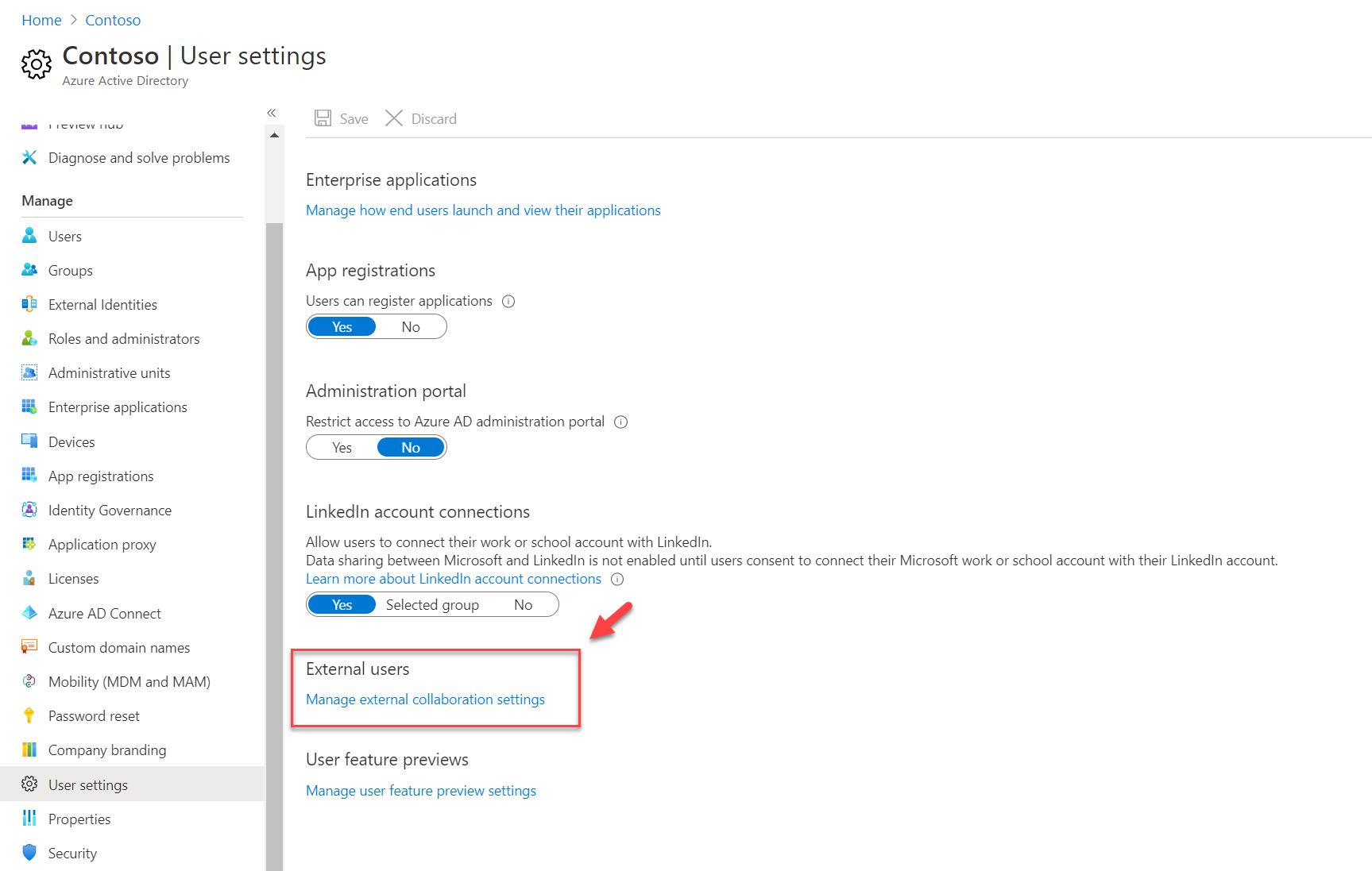 Manage external collaboration settings for External users
