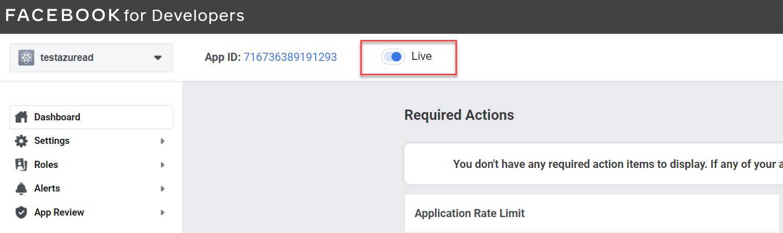 Make Facebook app live