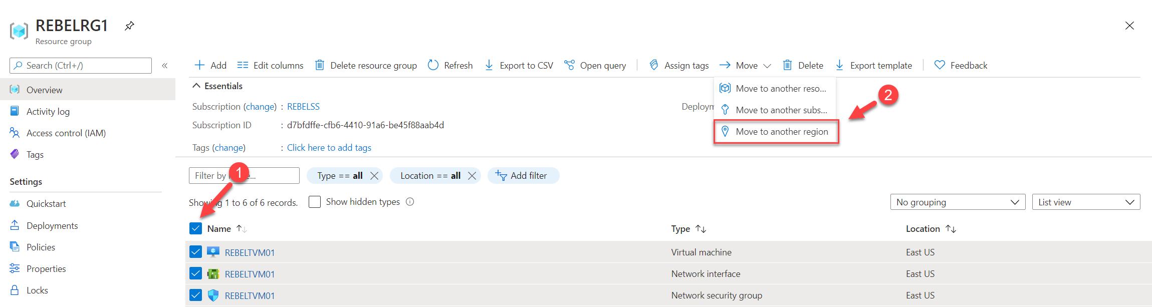 Select Azure Resource Group