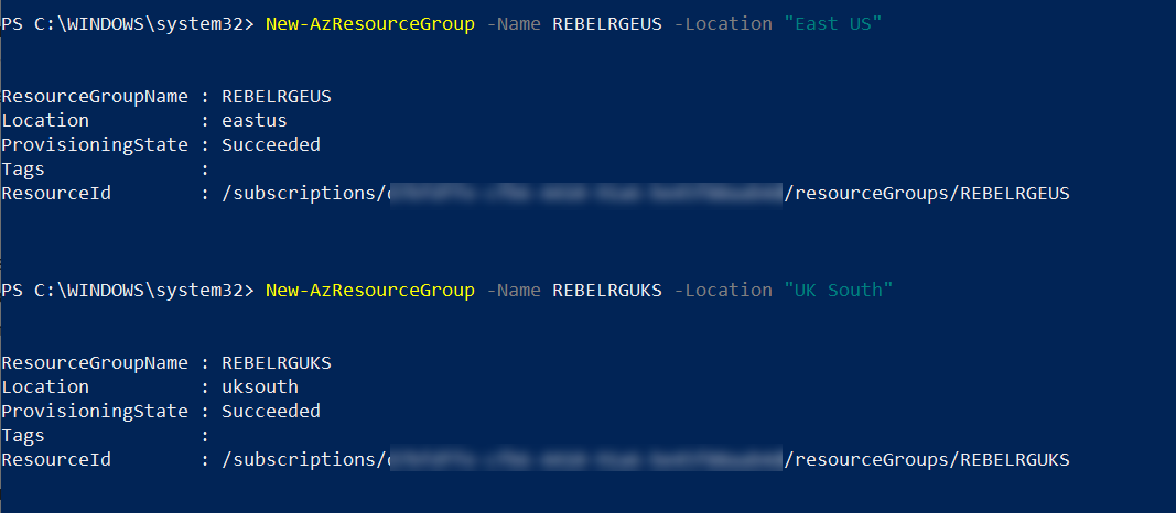 Create Azure Resoruce Groups