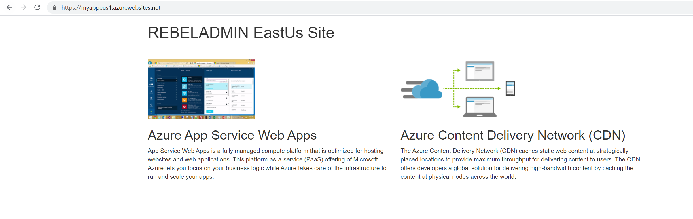 Azure WebApp in East US Region