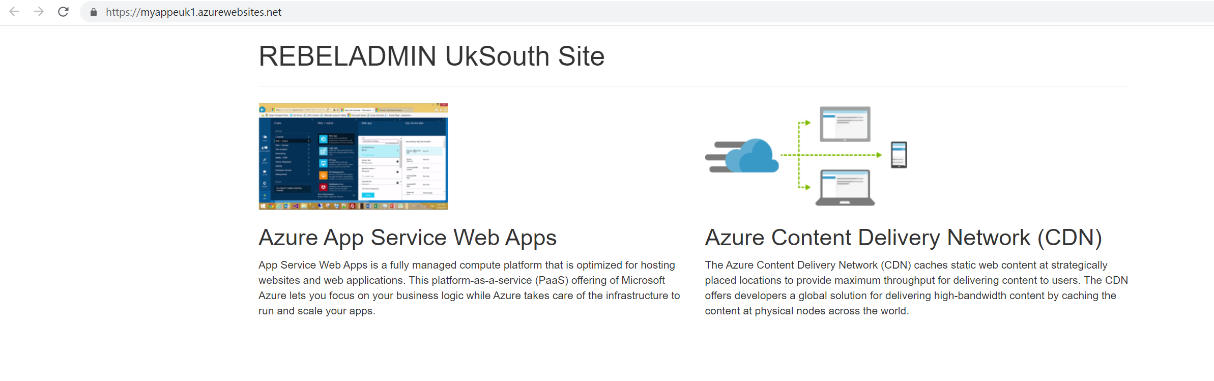 Azure WebApp in UK South Region