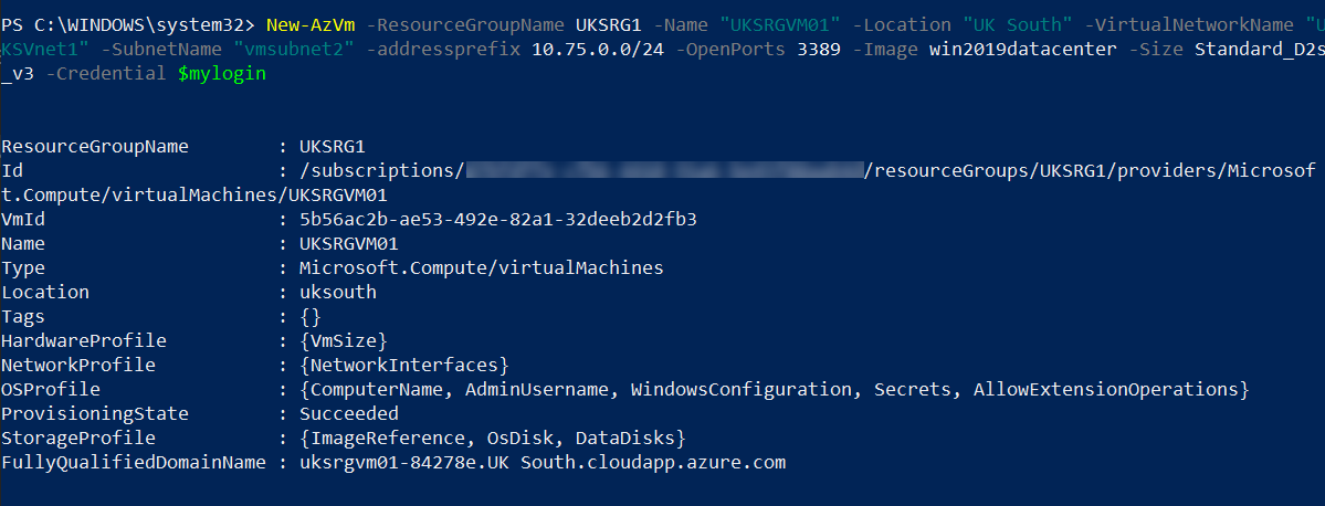 Create Azure VM in UK South Azure region