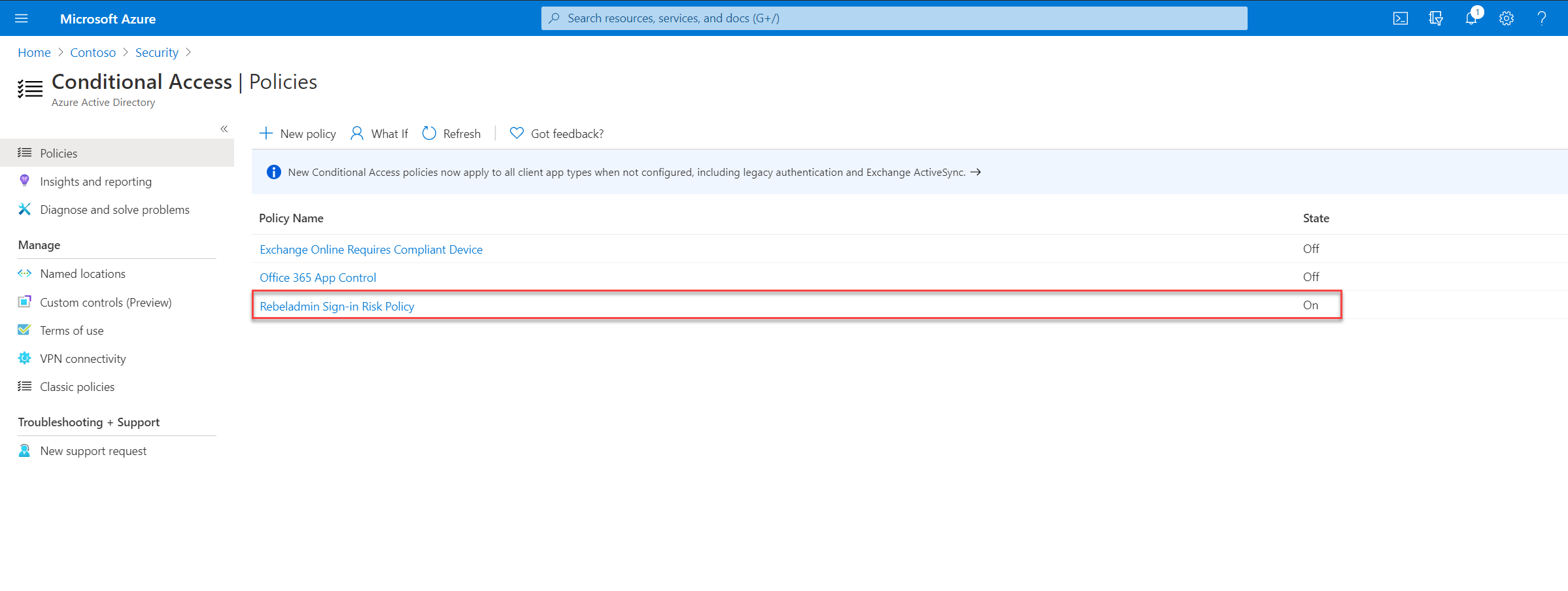 sign-in risk-based conditional access policy