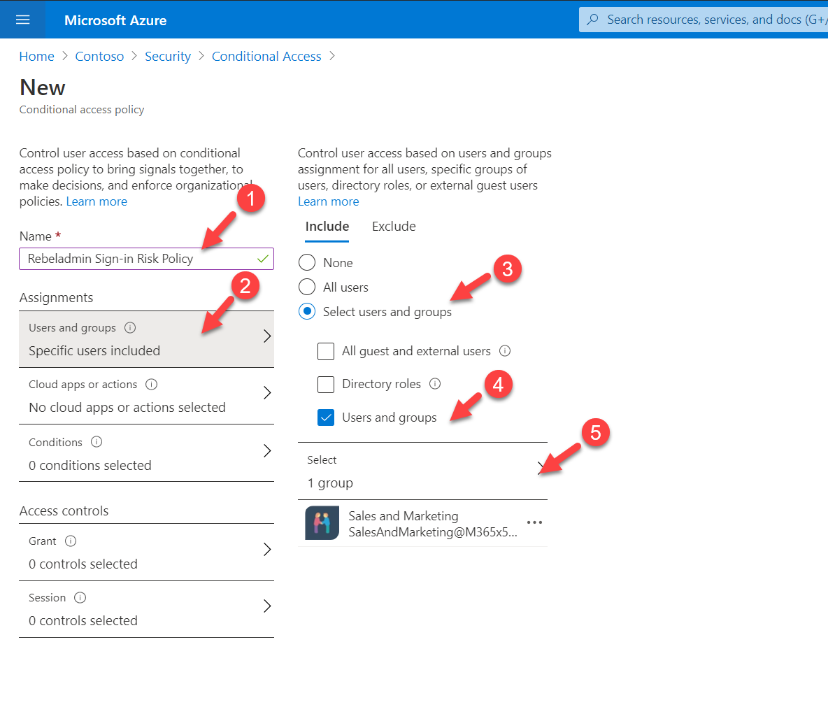 Select target Azure AD users and groups